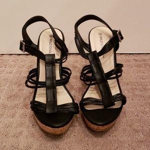 NEW! Wild Diva black cork wedge heeled sandals - 8